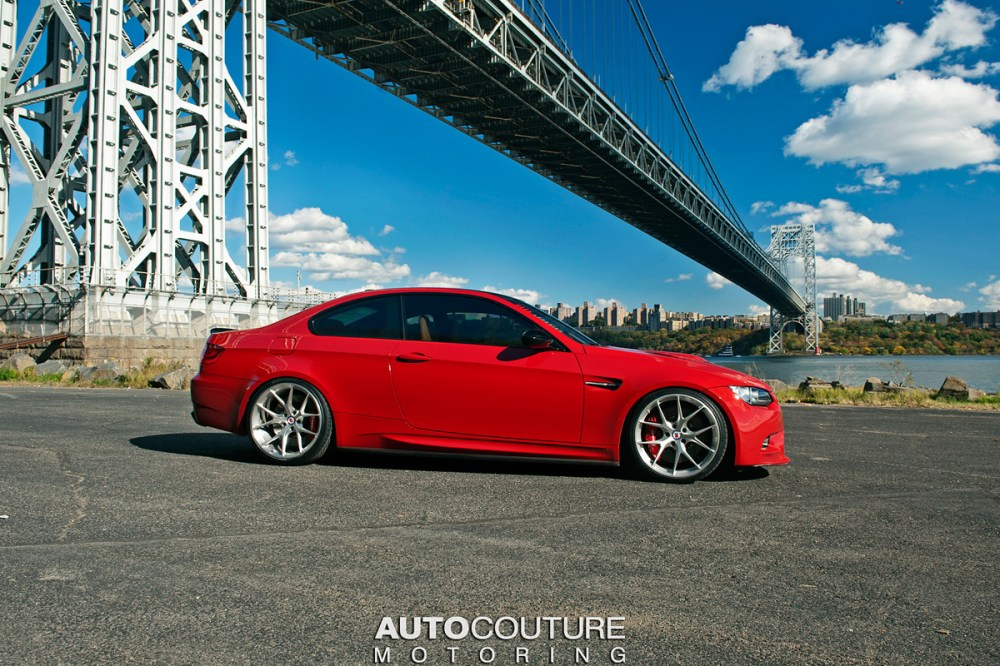 medium resolution of a red bmw e92 m3 with hre wheels installed right side