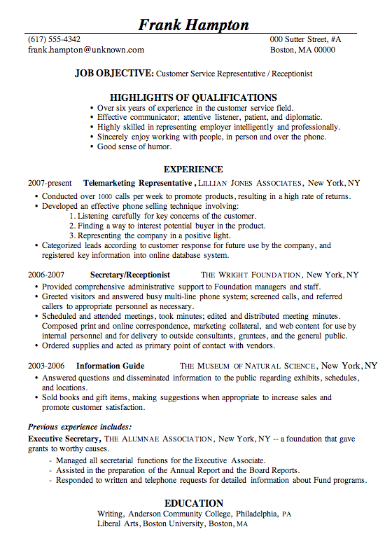 Resume Sample Customer Service Representative Receptionist