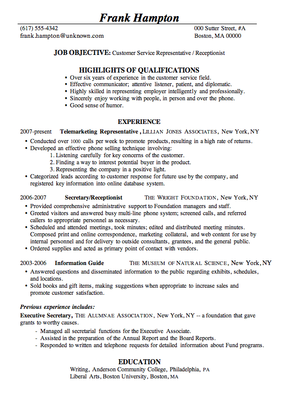 Resume Sample Customer Service Receptionist