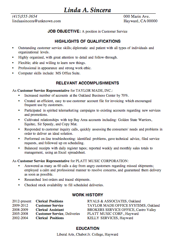 resume sample customer service - Sample Customer Service Resume