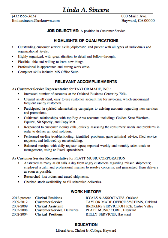 Resume Sample Customer Service positions