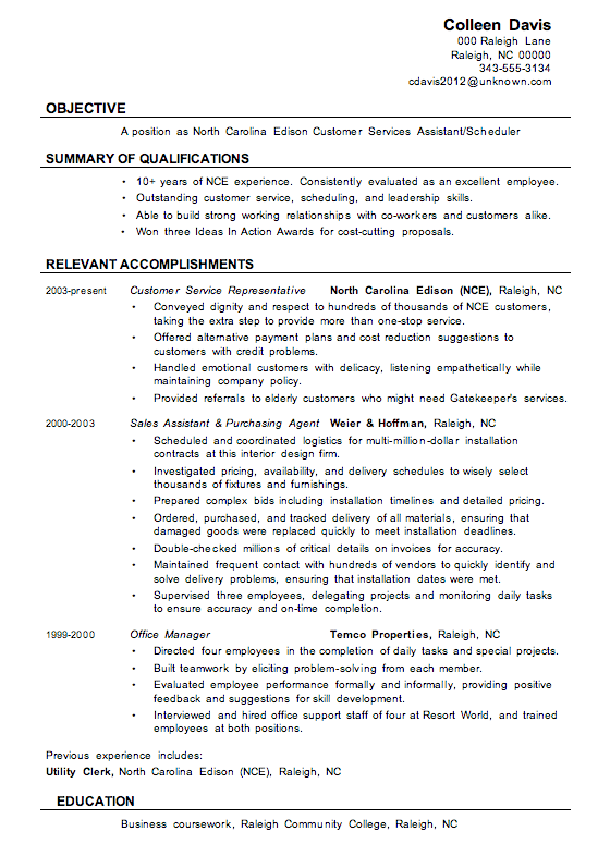 Resume Sample: Customer Services Assistant
