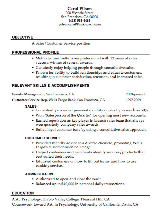 Resume Sample Sales Customer Service Job Objective