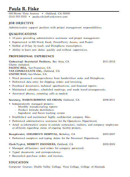 resume sample administrative support project management - Secretary Objective For Resume Examples