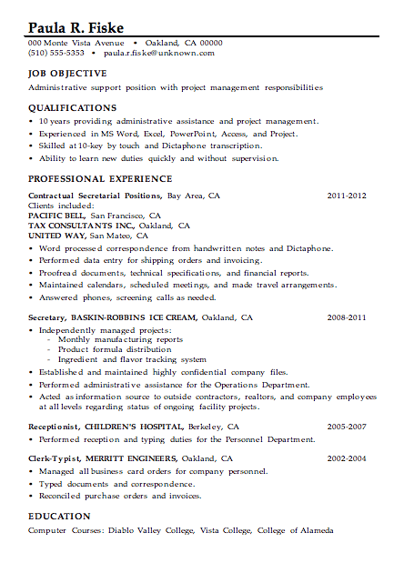 A Resume Example Word Resume Sample Administrative Support  Project Management Vp Resume with Acting Resume Builder Excel More Resume Help Nursing Home Resume Pdf