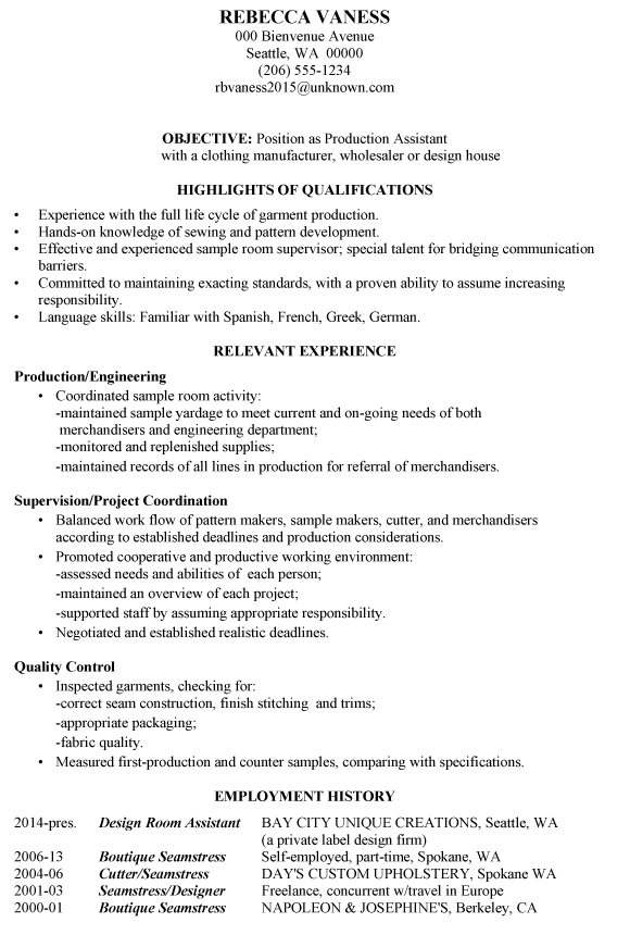 Resume Sample: Production Assistant