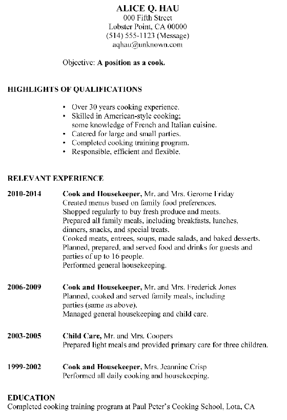 Resume Sample Cook