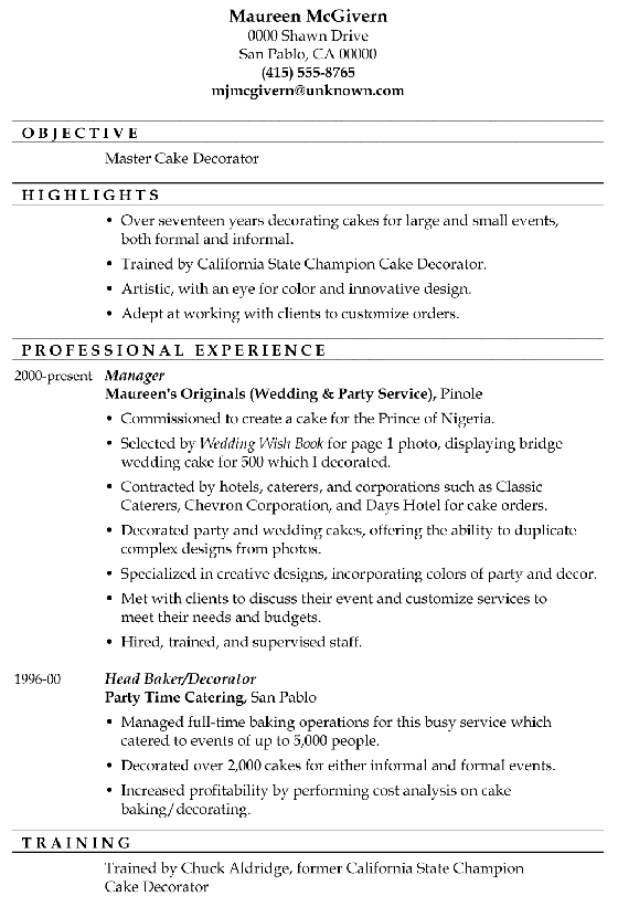 Resume Sample Master Cake Decorator : Chronological Resume Sample Master Cake Decorator from damngood.com size 560 x 830 png 28kB