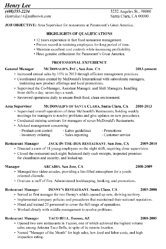 Chronological Resume Sample Restaurant Supervisor  American Resume Samples