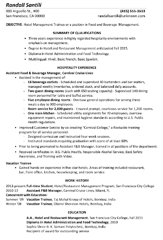 Functional Resume Sample Hotel Management Trainee  Hotel Resume Examples