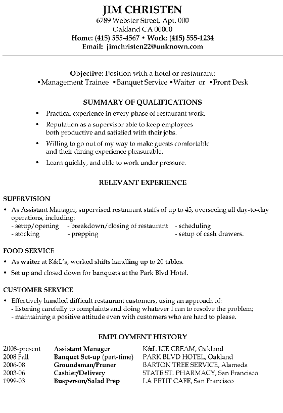Functional Resume Sample Hotel Restaurant  Hotel Resume Examples