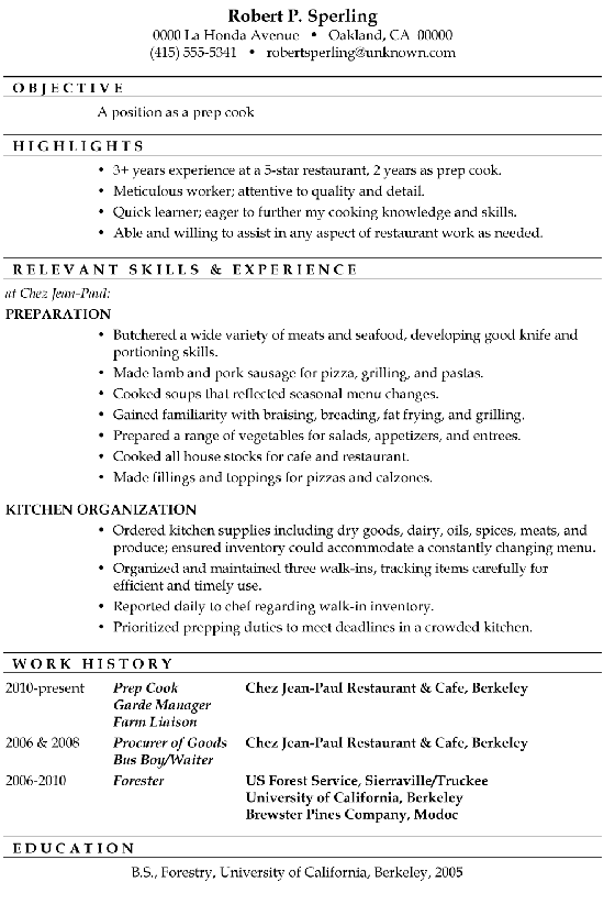 resume sample  prep cook