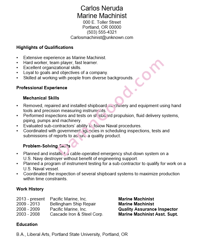 resume example marine machinist - Marine Resume Examples