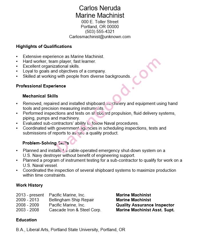 Resume Example Marine Machinist