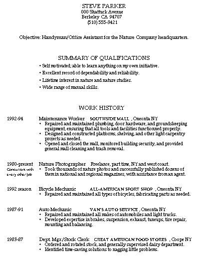 sample resume handyman worker