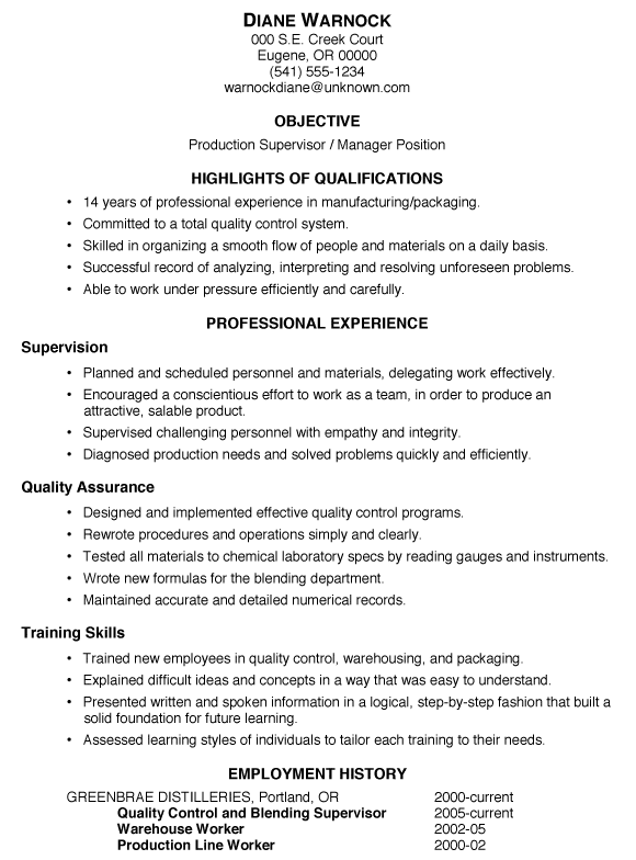 resume sample  production supervisor  manager