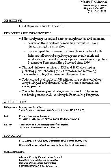 union representative resume samples
