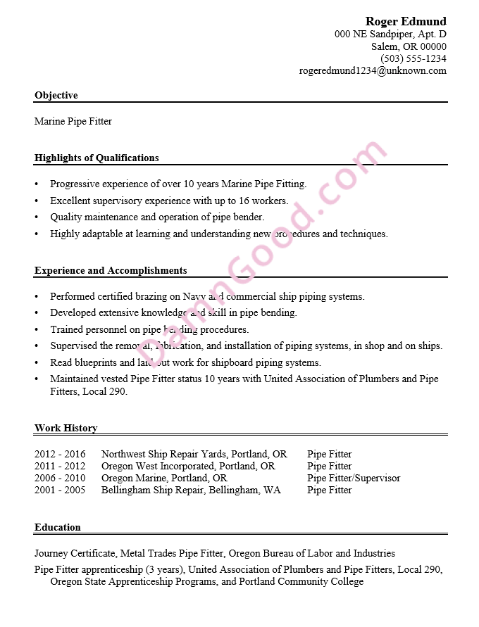 No college degree resume samples archives damn good resume guide resume sample marine pipe fitter yadclub