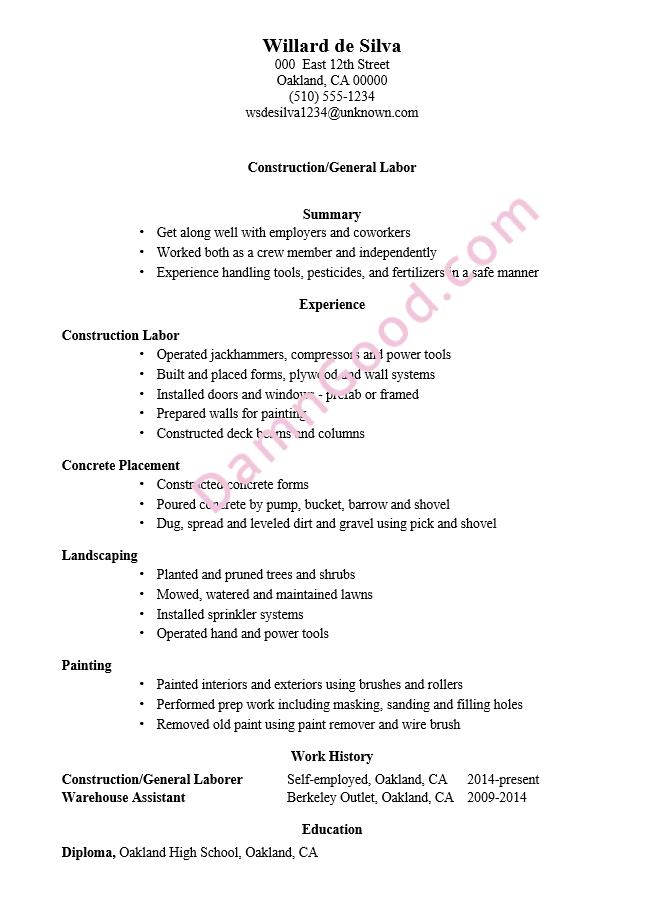 resume skills construction worker