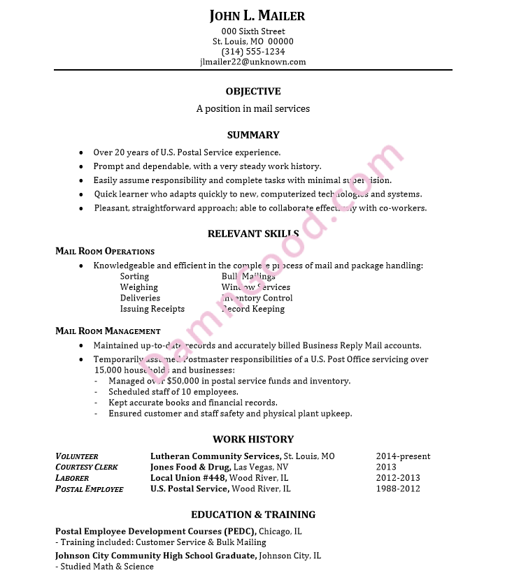 resume sample mail services