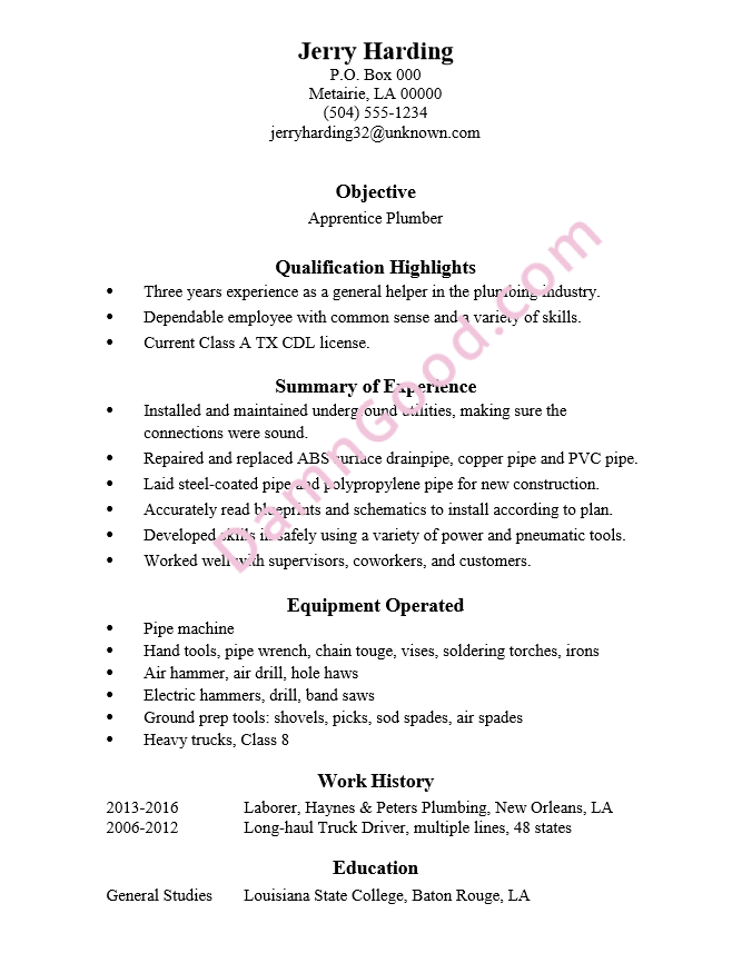 resume sample for a position as an apprentice plumber - Summary In A Resume Example