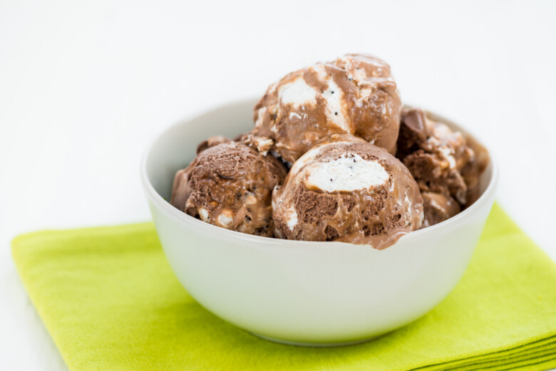 Vanilla And Chocolate Ice Cream Scoops In Bowl