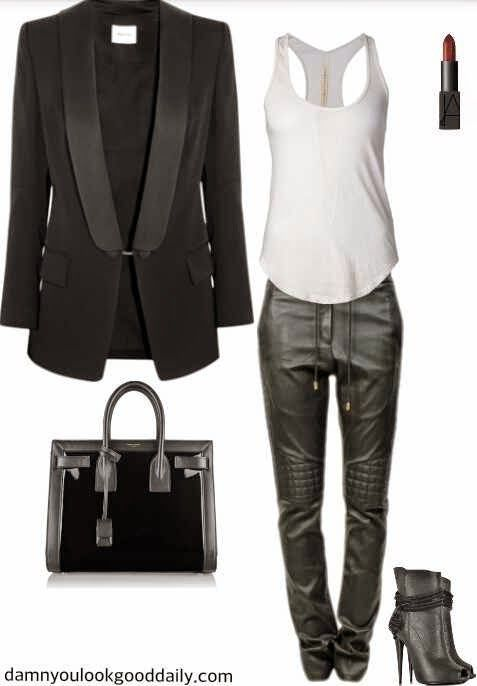 how to wear open toe booties in the fall leather jogger pants guiseppe zanotti open toe booties black blazer givenchy bag
