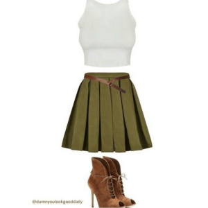 open toe booties outfit with a skater skirt