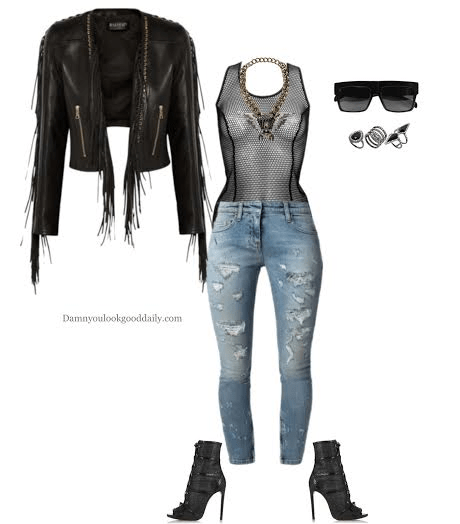 fall open toe giuseppe zanotti open toe bootie ripped blue jeans and see through bodysuit and fringe leather jacket and celine z top glasses