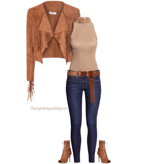 how to wear open toe booties in the fall fringe suede jacket nude turtleneck sleeve shirt skinny blue jeans and a gold choker