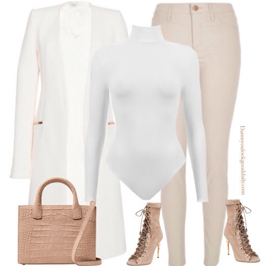 A Outfit With a long white muglar coat nude skinny jeans a white turtleneck bodysuit and lace up balmain booties
