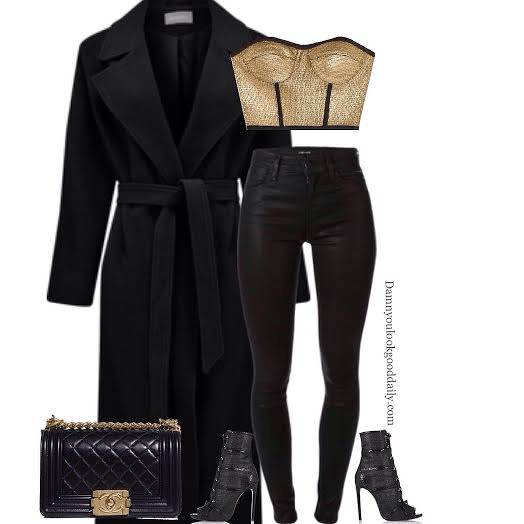 How to wear open toe booties in the winter long black coat gold bustier black jeans giuseppe zanotti open toe booties