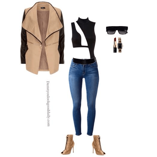 fall open toe bootie outfit idea with nude lace up booties blue skinny jeans a black bodysuit and a black and tan jacket