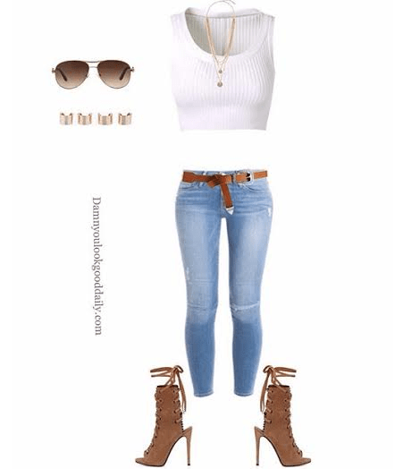 a summer open toe bootie outfit with a white crop top and light blue skinny jeans and brown guiseppe zanotti open toe booties