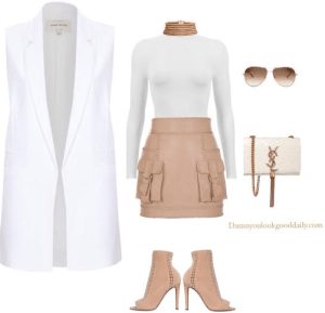 open toe bootie outfit with a skirt