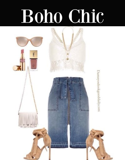 cute outfit ideas denim skirt
