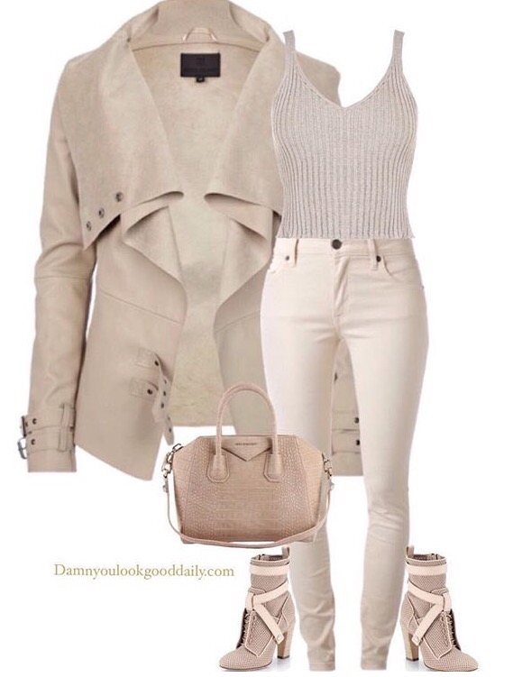 a outfit college with a cream jacket,cream jeans