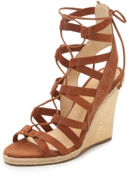 Schutz Eime Lace Up Wedge Sandals $240