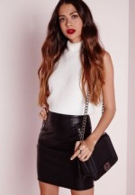 Zip Detail Faux Leather Mini Skirt Black $25