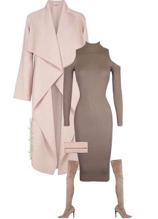 Wedding Outfits for winter wedding cold shoulder dress long blush waterfa coat brown thigh high boots