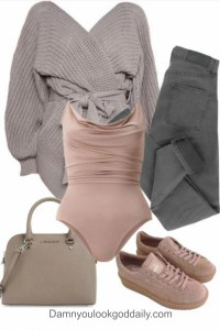 Fall winter outfit collage with grey skinnys jeans puma mauve creepers and a cement michael kors satchel bag and purple cardigan