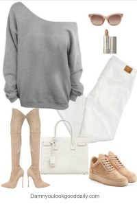 teenage fall winter outfit ideas with puma sneaker creepers white jeans cozy grey sweater nude thigh high boots