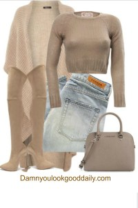 Fall winter street style outfit with light blue jeans a brown crop top nude thigh high boots neutral michael kors bag and a long beige cardigan