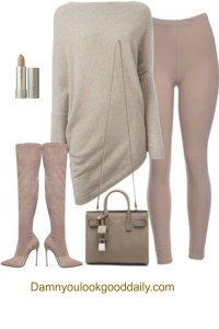 a street style fall winter outfit with mauve leggings a beige long sweater mauve pink thigh high boots and a saint laurent tote bag