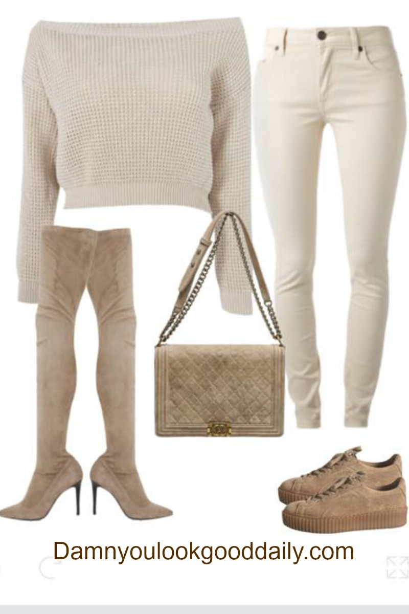 Teenage Fashion for School brown puma creepers chanel bag thigh high boots cozy sweater and cream jeans