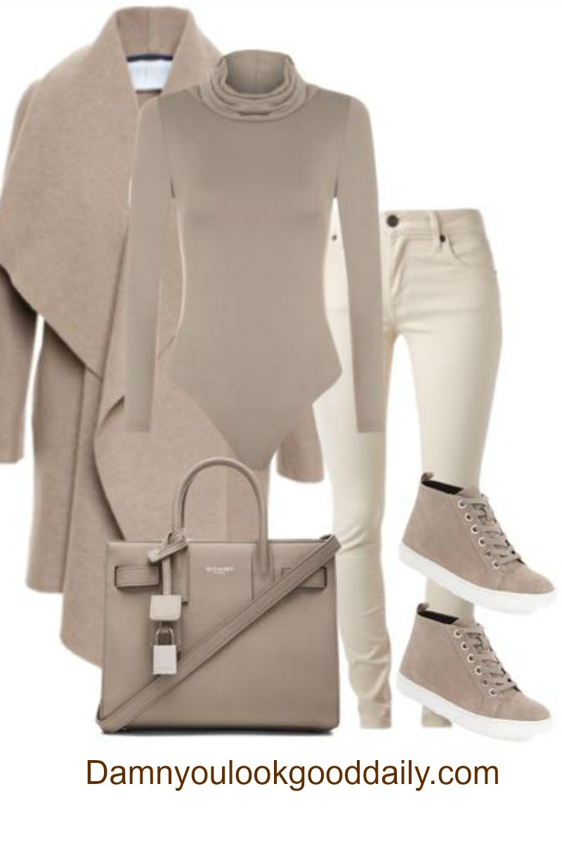 Teenage fashion for school in fall and winter with sneakers jeans turtleneck bodysuit and brown waterfall camel coat