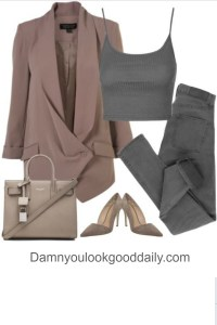 Fall womens work outfit idea for casual style grey skinny jeans blazer saint laurent tote bag