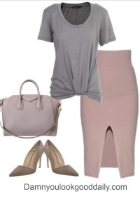 womens-casual-business-outfit-for-work-mauve-pencil-skirt-grey-tshirt-mauve-givenchy-satchel-bag
