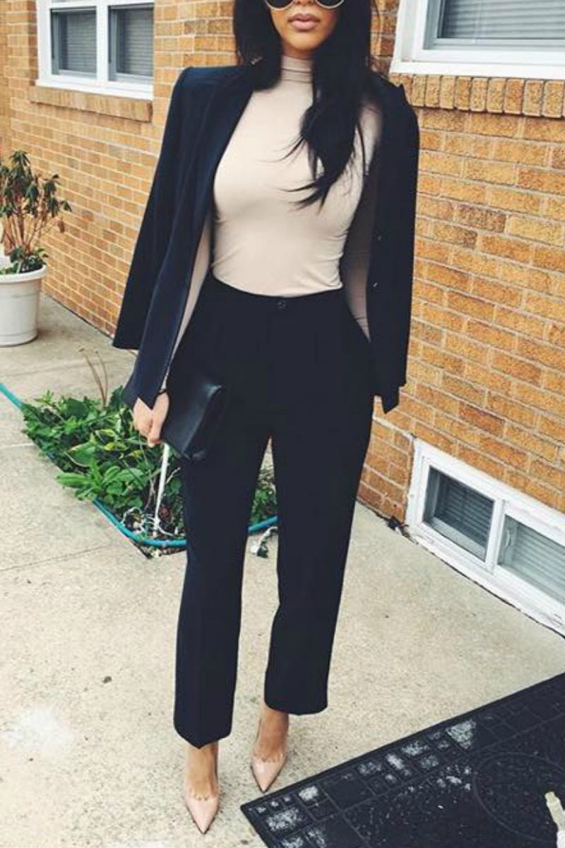 99fbb24492 a women wearing a black blazer and nude turtleneck with black slacks and  nude pointy toe. Work Outfit Ideas Look 3.
