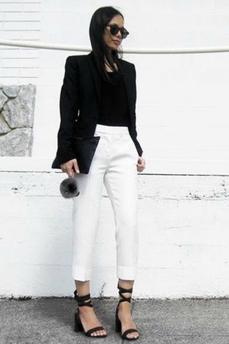 professional business office outfit with white trousers black blazer and black sandals